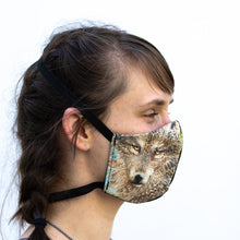 Load image into Gallery viewer, Wolf art print fabric mask, on face, side view.