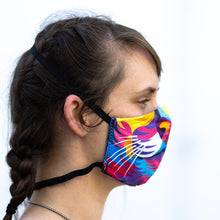 Load image into Gallery viewer, Color Lion art print fabric mask, on face, side view.