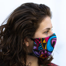 Load image into Gallery viewer, Color Bear art print fabric mask, on face, side view.