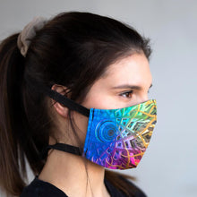 Load image into Gallery viewer, Infinity art print fabric mask, on face, side view.