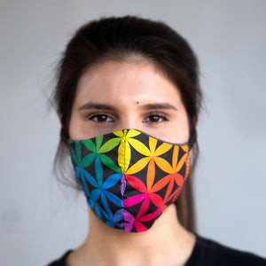 Sacred Color Wheel art print fabric mask, on face, front view.