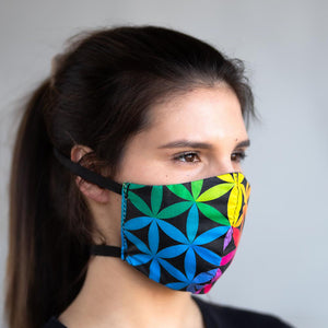 Sacred Color Wheel art print fabric mask, on face, side view.