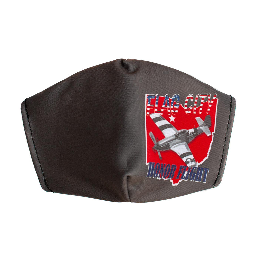 Flag City Honor Flight Face Mask Grey- Adult