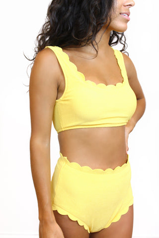 Yellow Scalloped Two Piece Swimsuit