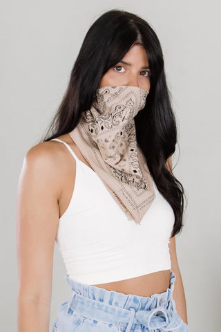 Taupe Paisley Face Scarf