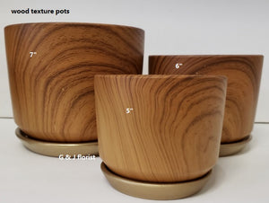 Wood texture planter with gold saucer - G & J Florist