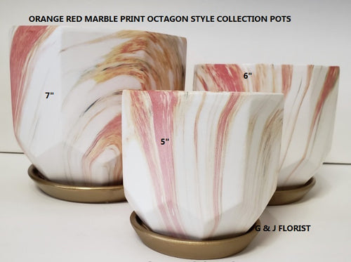 Orange red marble octagon shape planter with gold saucer - G & J Florist