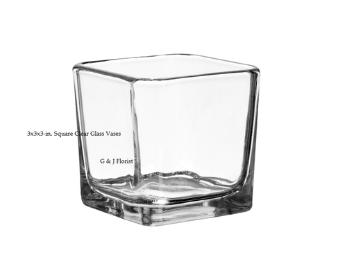 3x3x3-in. Square Clear Glass Vases - G & J Florist