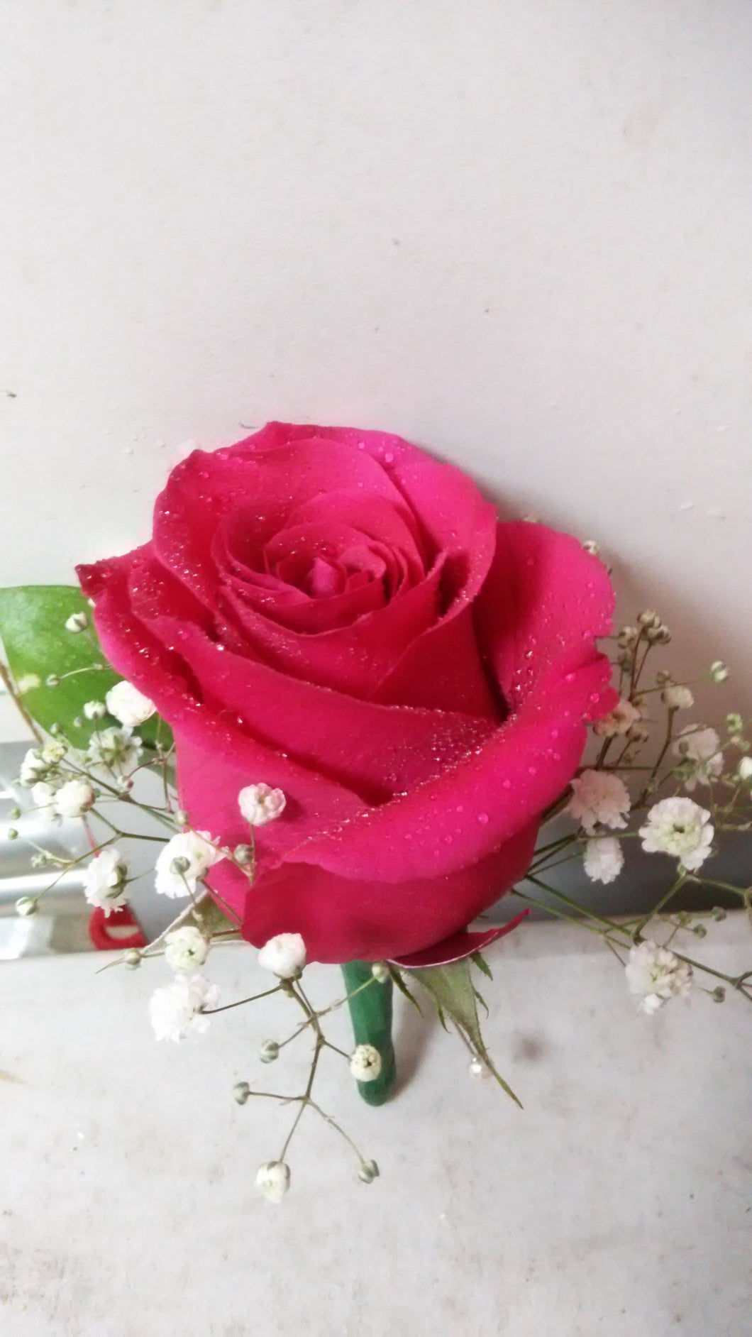 single hot pink rose boutonniere /corsage - G & J Florist