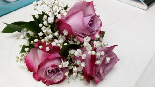 triple rose boutonniere and corsage ( Lavender ) - G & J Florist