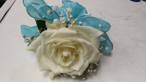 single white rose boutonniere / corsage with ribbon - G & J Florist