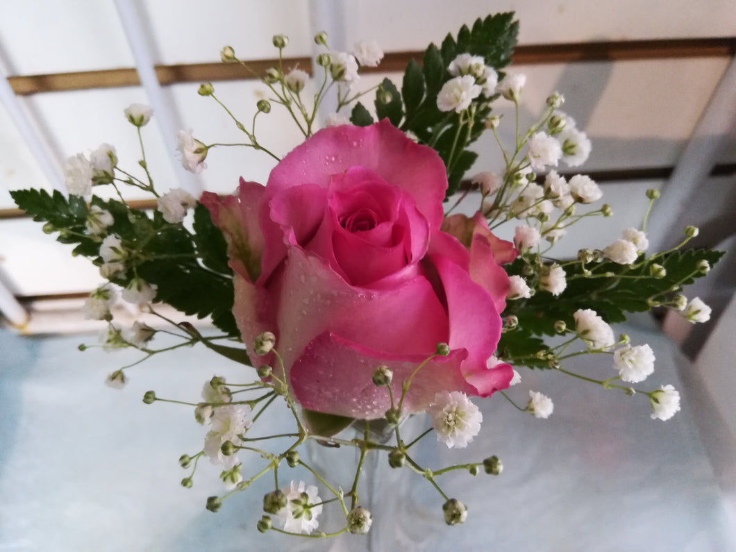single pink rose boutonniere and corsage - G & J Florist