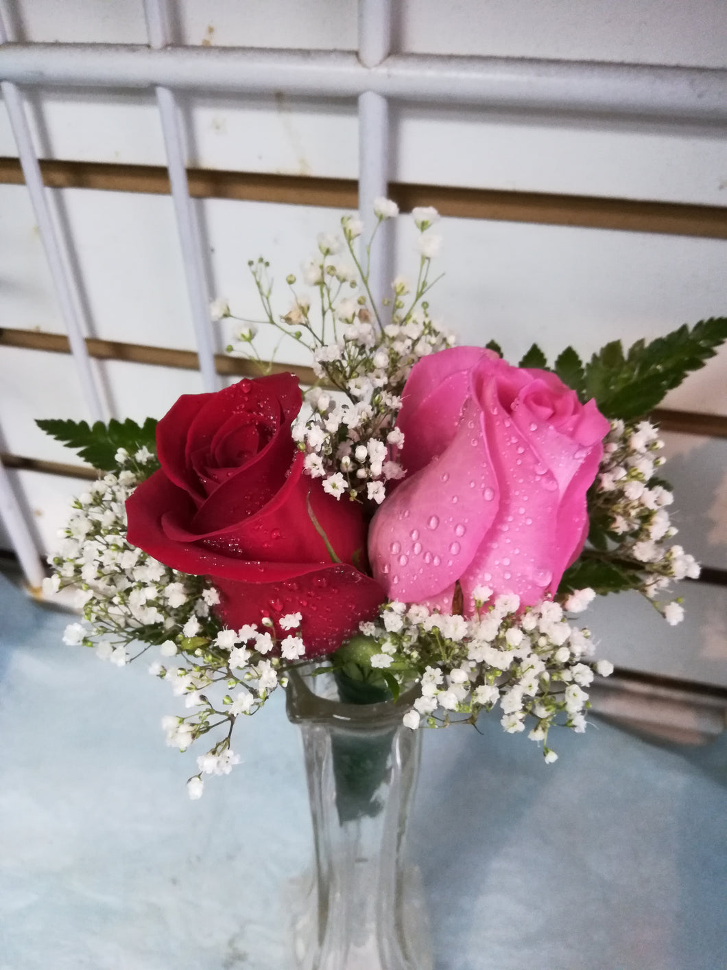 double rose boutonniere and corsage ( RED & PINK) - G & J Florist