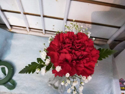 single red carnation boutonniere / corsage - G & J Florist