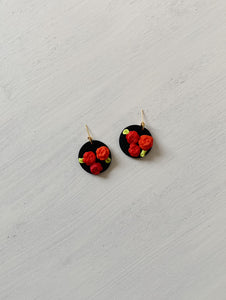 Red Floral Coin Dangle Earrings