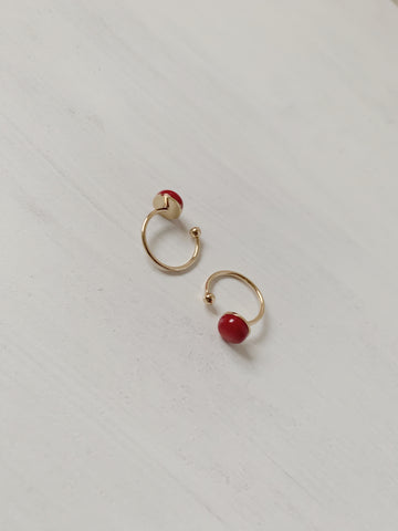 Red Bamboo Coral Ring