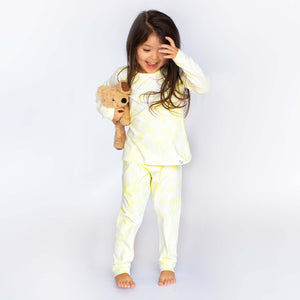 Yellow Tie Dye Pyjamas on Happy Girl Boa Basics