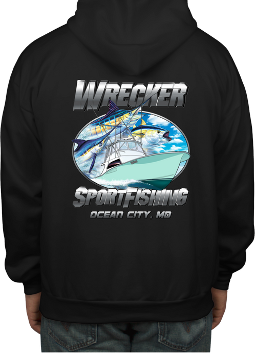 Wrecker Sport Fishing Hooded Sweat Shirt