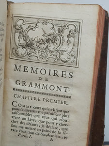 Memoires du Comte de grammont, 1749. Ownership of Jacques-Laure Le Tonnelier, bailiff of Breteuil