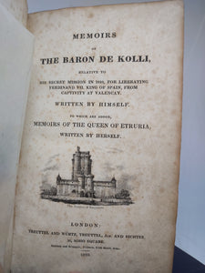 Memoirs of the Baron de Kolli, 1823. First Edition