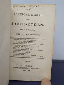 The Poetical Works of John Dryden, in Three Volumes. With the Life of the Author, 1778