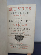 Load image into Gallery viewer, Oeuvres diverses du Sieur D*** avec le Traité du Sublime, Traduit du Grec de Longin, 1683. 2nd Edition