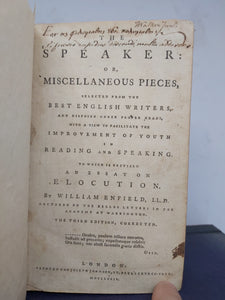 The speaker: or, Miscellaneous pieces, selected from the best English writers, 1779. 3rd Edition