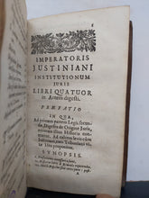 Load image into Gallery viewer, Imperatoris Justiniani Institutionum juris libri quatuor in artem digesti, 1671