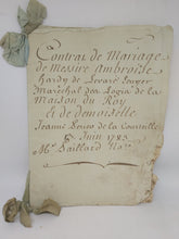 Load image into Gallery viewer, Marriage Contract of Messire Ambroise-François Hardy de Levare, Grand Marshal of France, and Jeanne Perrier de L'hommeau, June 13 1783