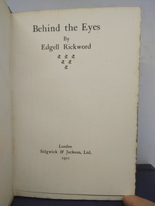 Behind the eyes, 1921