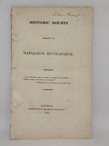 Historic doubts relative to Napoleon Bonaparte, 1819
