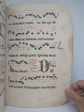 Load image into Gallery viewer, ***RESERVED*** Antiphonal Fragment bound in a Vellum Fragment, 17th century