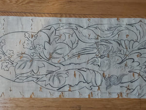Emaki-mono scroll of birds and guardian lion, 19th century