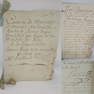 Marriage Contract of Messire Ambroise-François Hardy de Levare, Grand Marshal of France, and Jeanne Perrier de L'hommeau, June 13 1783