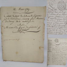Load image into Gallery viewer, Bill of Sale for Monsieur De Fayau, March 12 1789