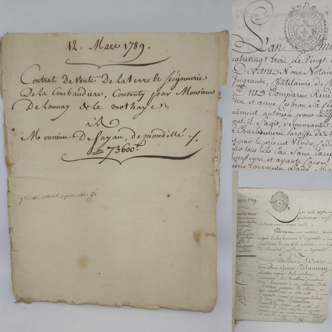 Bill of Sale for Monsieur De Fayau, March 12 1789