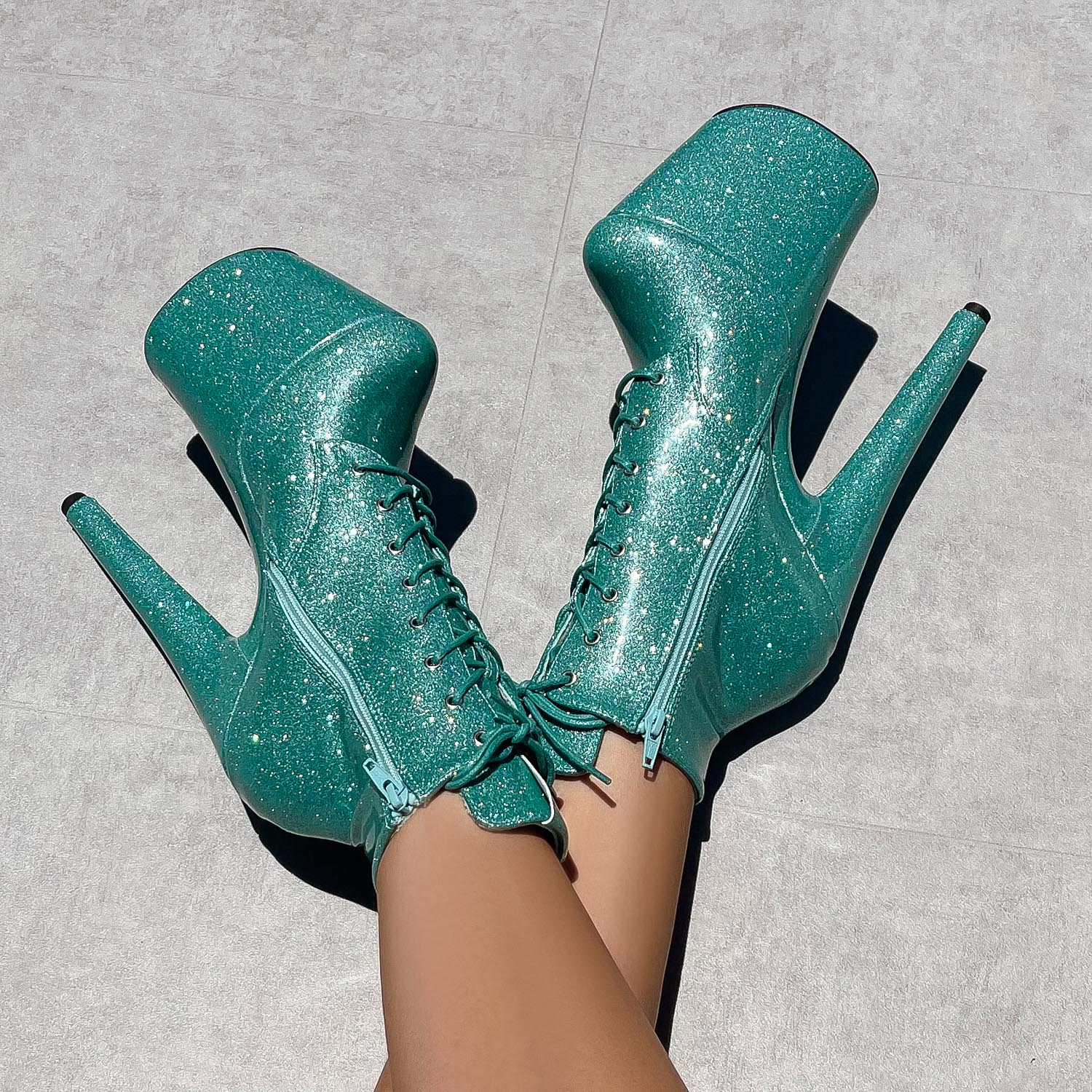 The Glitterati Ankle Boot - Baby Blues - 8 INCH