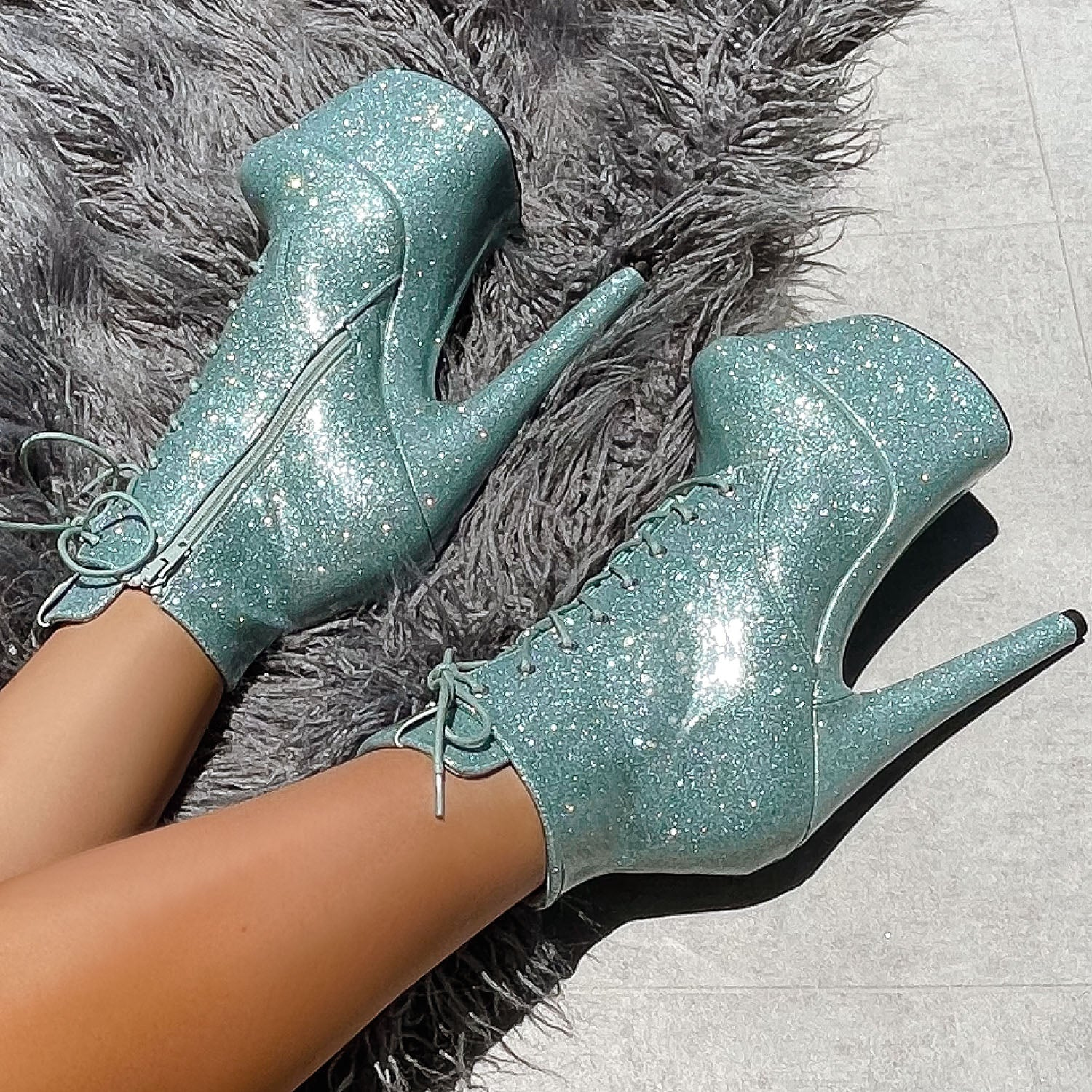 The Glitterati Ankle Boot - Ice Ice Baby - 7 INCH