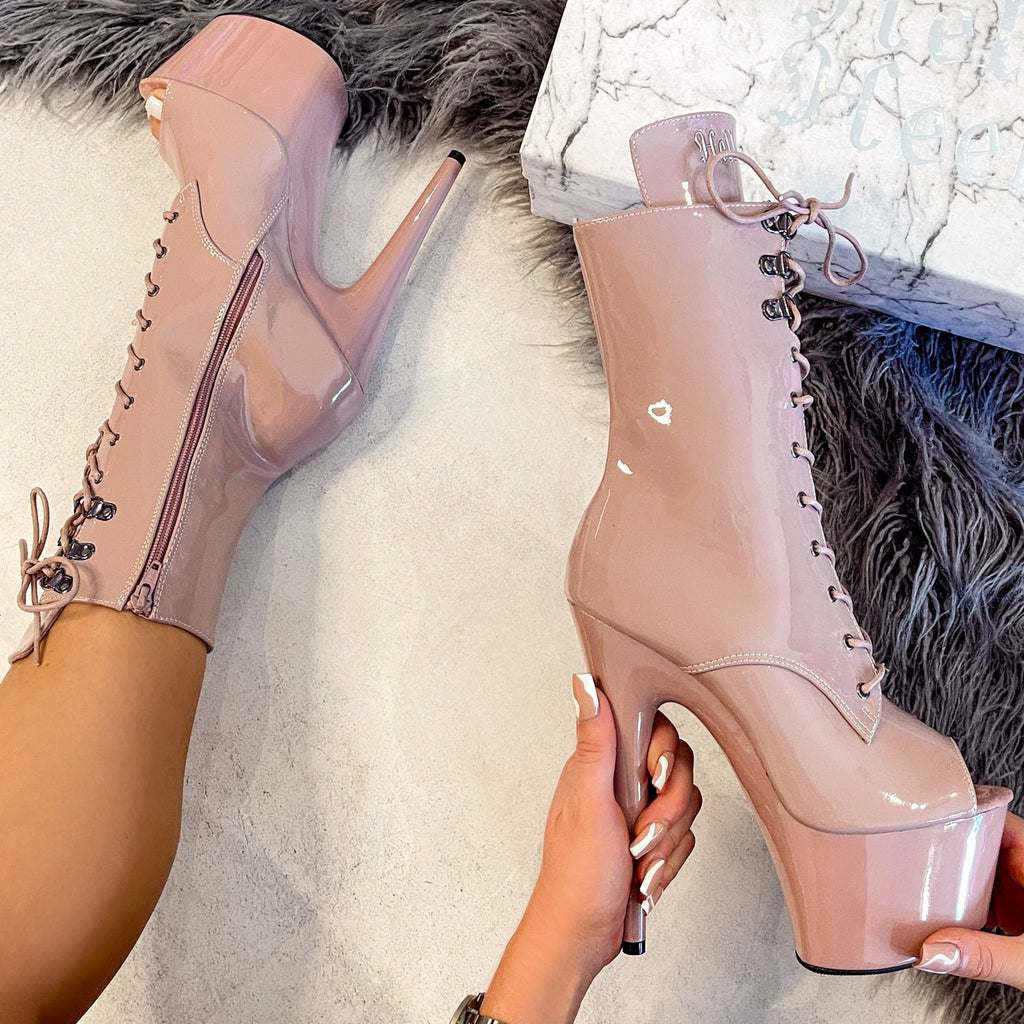 LipKit Open Toe Boot - Boujee - 7 INCH