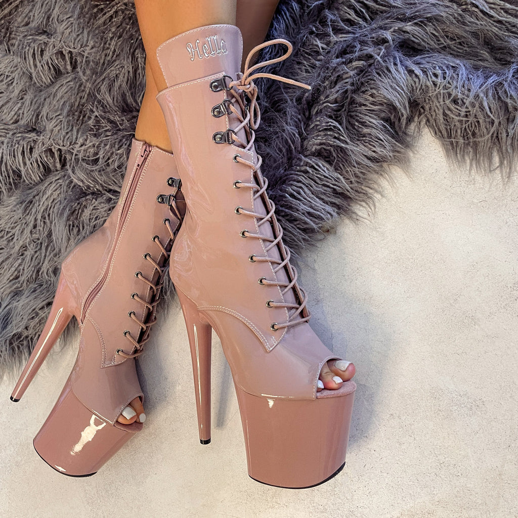 LipKit Open Toe Boot - Boujee - 8 INCH