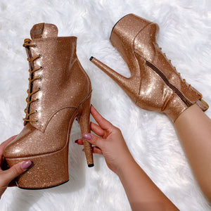 The Glitterati Ankle Boot - Oh Honey - 7 INCH