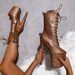The Glitterati Boot - Oh Honey - 8 INCH