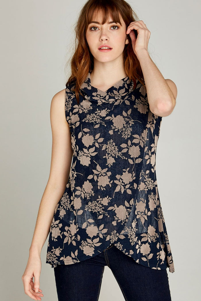 Navy Cowl Neck Floral Print Wrap Tunic Top
