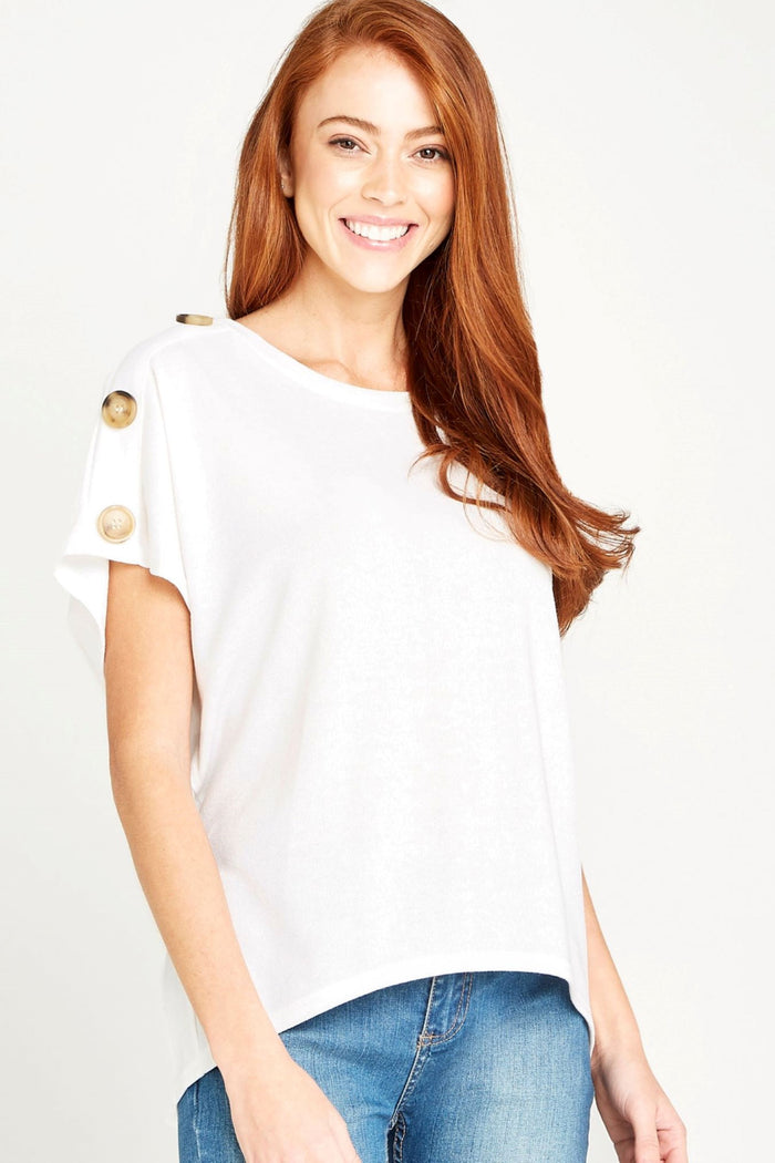 Cream Button Shoulder Curved-Hem Tee