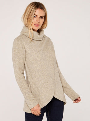 Stone Roll Neck Wrap Turtleneck Sweater