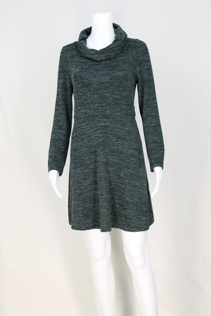 V-Bodice Cowl Neck Knit Dress