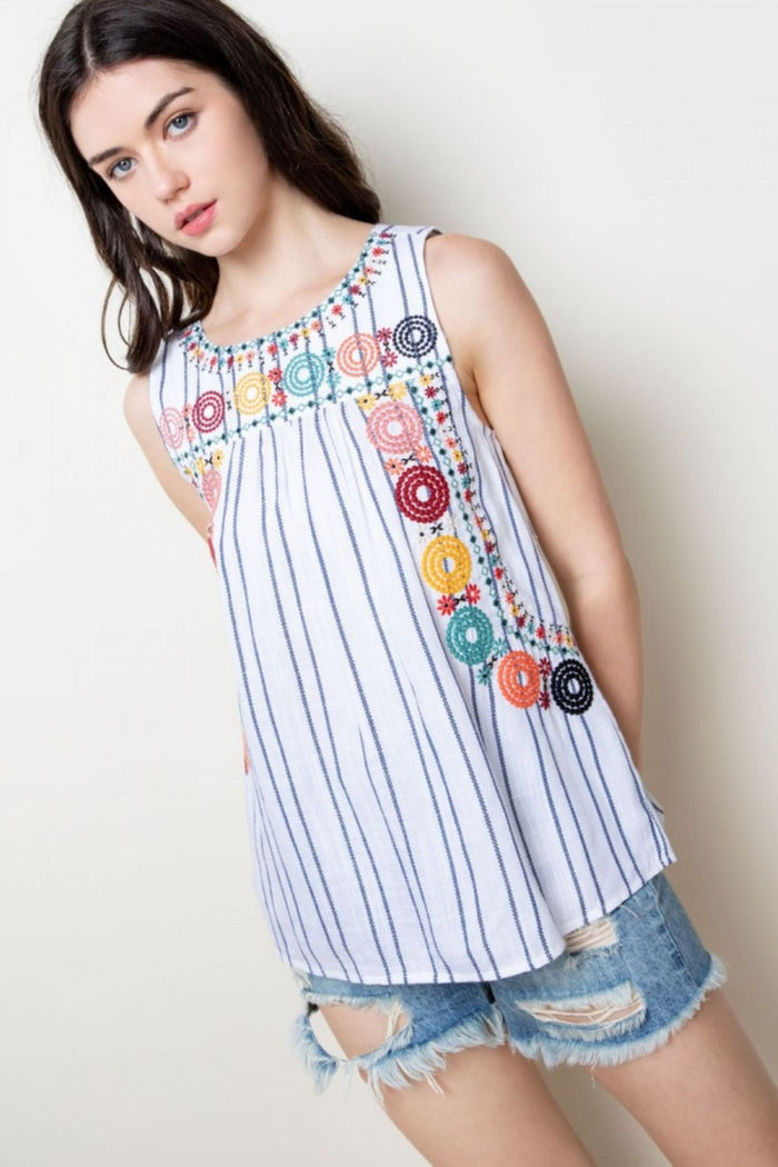 Stripe Embroidered Tank