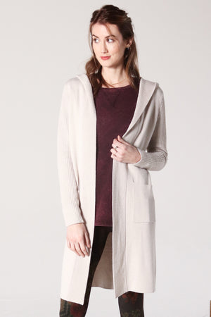 Hooded Long Linen Sweater