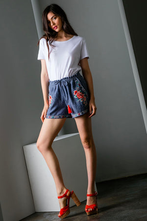 Embroidered Navy Shorts