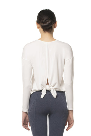 Tie Back Long Sleeve Top White